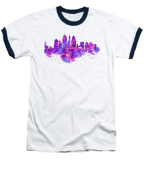 Cincinnati Skyline Baseball T-Shirt by Marian Voicu