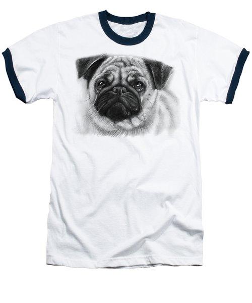 Cute Pug Baseball T-Shirt by Olga Shvartsur