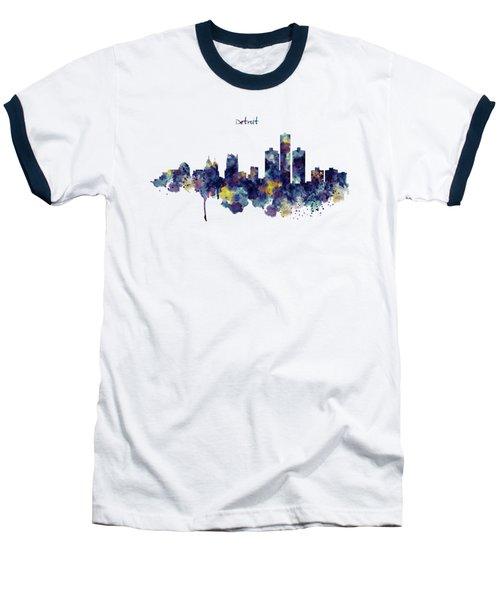 Detroit Skyline Silhouette Baseball T-Shirt by Marian Voicu