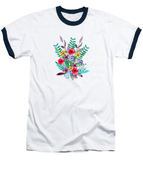 Floral Bouquet Baseball T-Shirt by Amanda Lakey