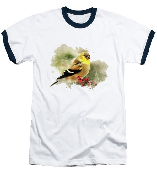 Goldfinch Watercolor Art Baseball T-Shirt by Christina Rollo