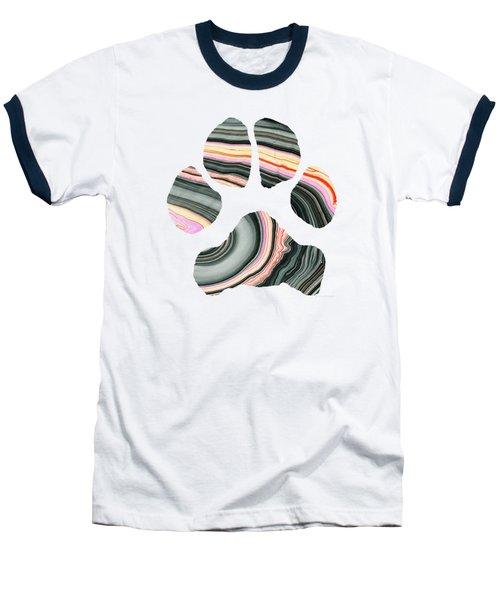 Groovy Dog Paw - Sharon Cummings  Baseball T-Shirt by Sharon Cummings