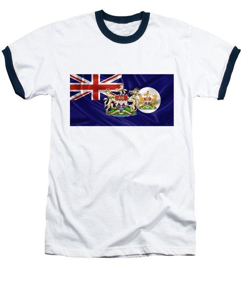 Hong Kong - 1959-1997 Historical Coat Of Arms Over British Hong Kong Flag  Baseball T-Shirt by Serge Averbukh