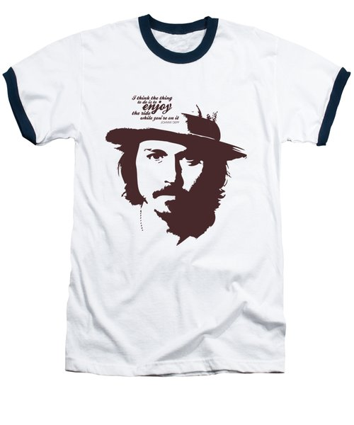 Johnny Depp Minimalist Poster Baseball T-Shirt by Lab No 4 - The Quotography Department
