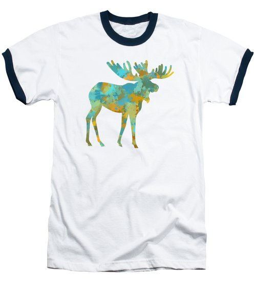 Moose Watercolor Art Baseball T-Shirt by Christina Rollo