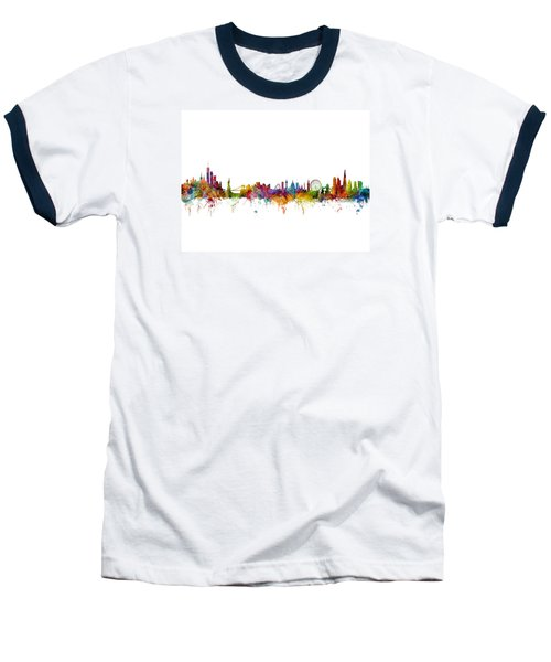 New York And London Skyline Mashup Baseball T-Shirt by Michael Tompsett
