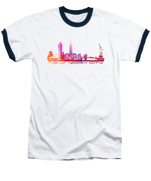 New York City Skyline Purple Baseball T-Shirt by Justyna JBJart
