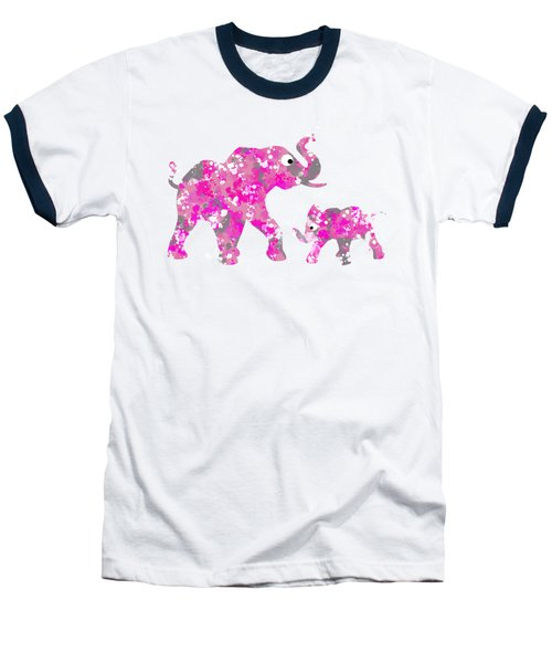Pink Elephants Baseball T-Shirt by Christina Rollo