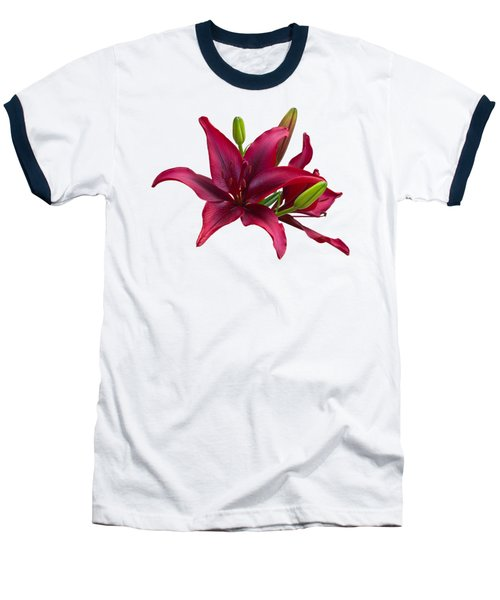 Red Lilies Baseball T-Shirt by Jane McIlroy
