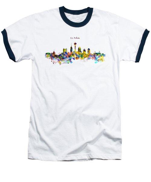 San Antonio Skyline Silhouette Baseball T-Shirt by Marian Voicu