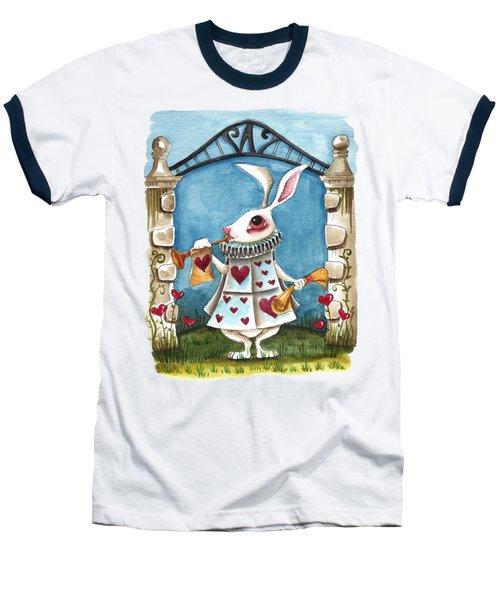The White Rabbit Announcing Baseball T-Shirt by Lucia Stewart