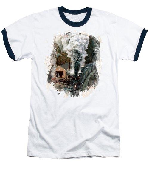 Train Days Baseball T-Shirt by Florentina Maria Popescu