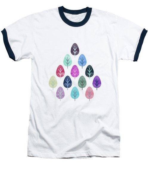Watercolor Forest Pattern II Baseball T-Shirt by Amir Faysal
