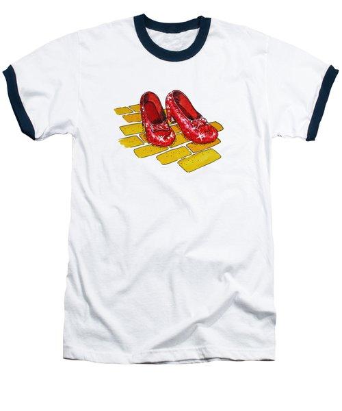 Wizard Of Oz Ruby Slippers Baseball T-Shirt by Irina Sztukowski