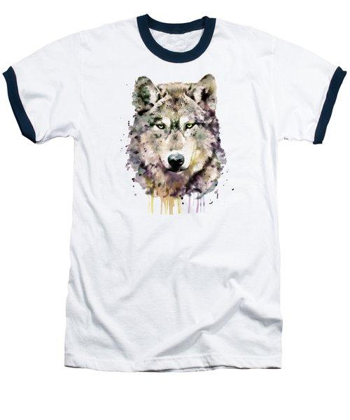 Wolf Head Baseball T-Shirt by Marian Voicu
