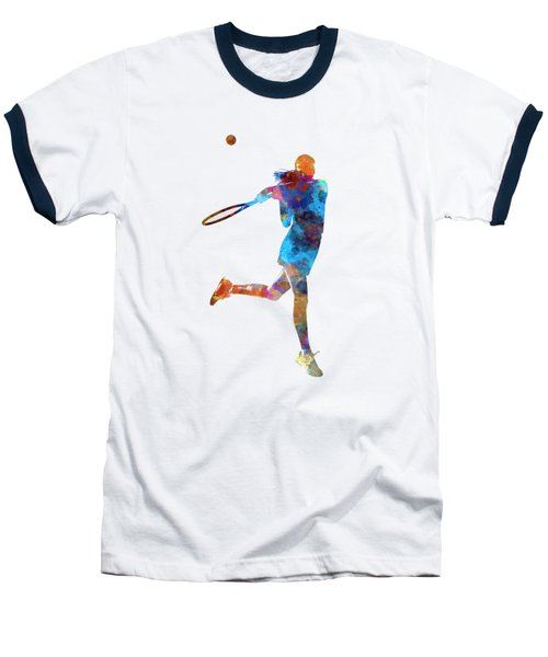 Woman Tennis Player 03 In Watercolor Baseball T-Shirt by Pablo Romero