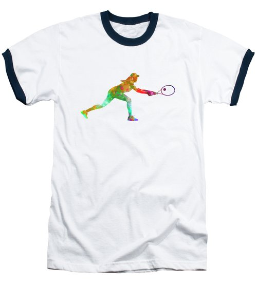 Woman Tennis Player Sadness 02 In Watercolor Baseball T-Shirt by Pablo Romero