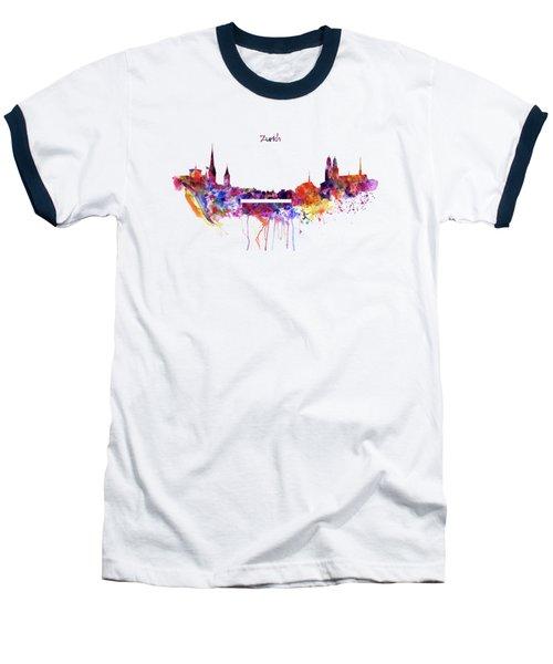 Zurich Skyline Baseball T-Shirt by Marian Voicu