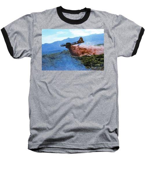 Baseball T-Shirt featuring the photograph  B-17 Air Tanker Dropping Fire Retardant by Bill Gabbert
