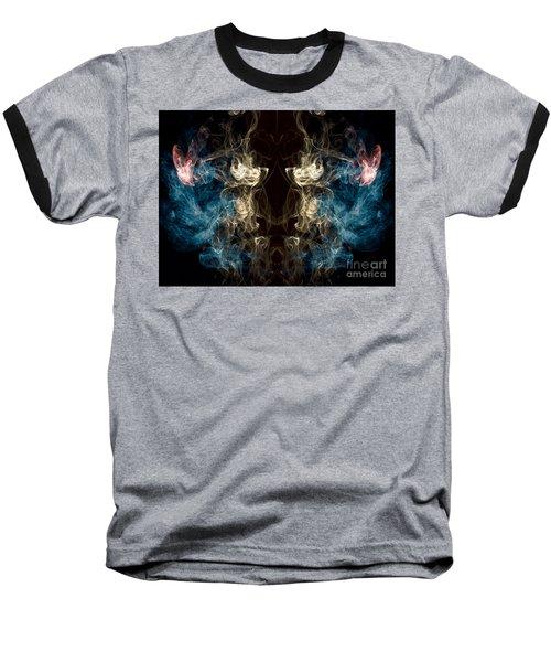 Minotaur Smoke Abstract Baseball T-Shirt by Edward Fielding
