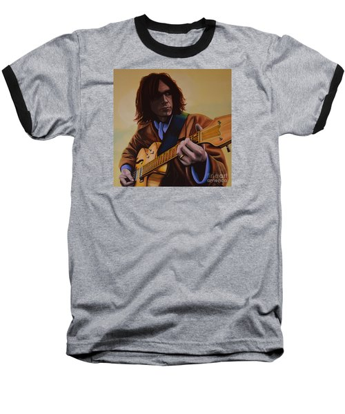 Neil Young Painting Baseball T-Shirt by Paul Meijering