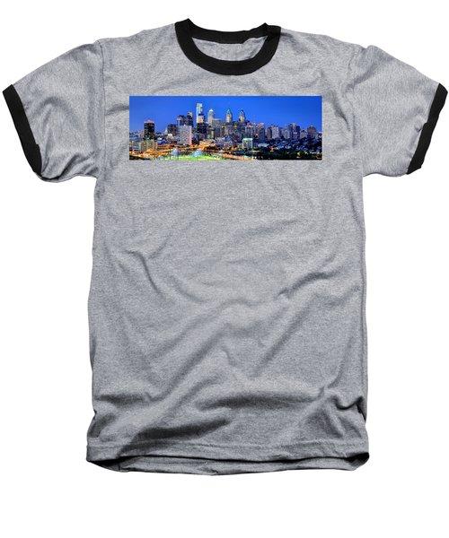 Philadelphia Skyline At Night Evening Panorama Baseball T-Shirt by Jon Holiday