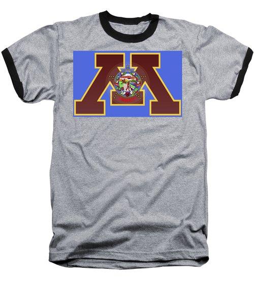 U Of M Minnesota State Flag Baseball T-Shirt by Daniel Hagerman