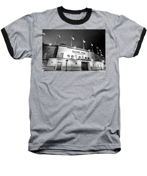 0879 Soldier Field Black And White Baseball T-Shirt by Steve Sturgill