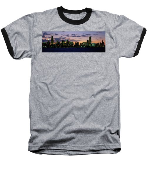 Buildings In A City At Dusk, Chicago Baseball T-Shirt by Panoramic Images