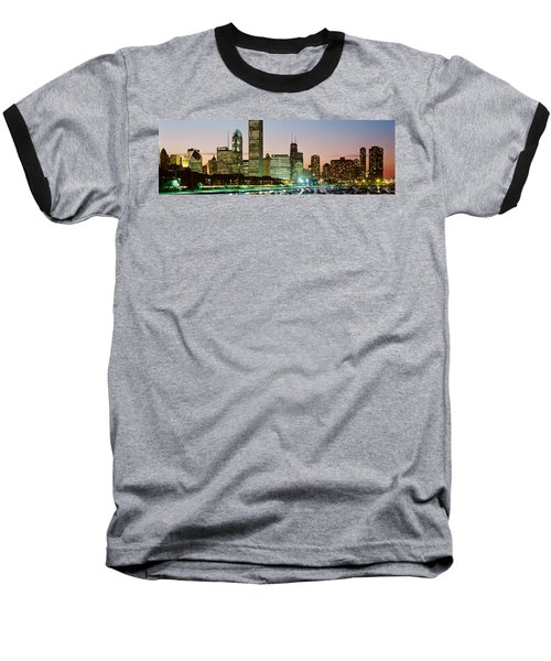 Buildings Lit Up At Night, Chicago Baseball T-Shirt by Panoramic Images