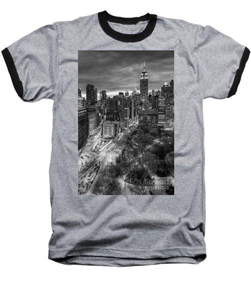 Flatiron District Birds Eye View Baseball T-Shirt by Susan Candelario