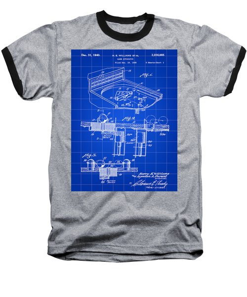 Pinball Machine Patent 1939 - Blue Baseball T-Shirt by Stephen Younts