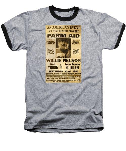 Vintage Willie Nelson 1985 Farm Aid Poster Baseball T-Shirt by John Stephens