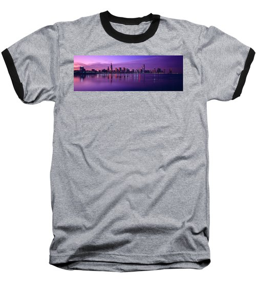 Buildings At The Waterfront Lit Baseball T-Shirt by Panoramic Images