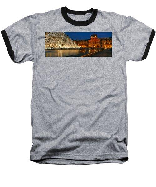 Pyramid At A Museum, Louvre Pyramid Baseball T-Shirt by Panoramic Images