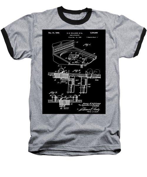 Pinball Machine Patent 1939 - Black Baseball T-Shirt by Stephen Younts