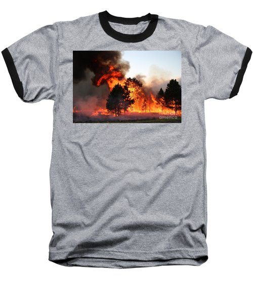 Baseball T-Shirt featuring the photograph A Burst Of Flames From The White Draw Fire by Bill Gabbert