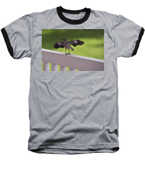 A Little Visitor Northern Mockingbird Baseball T-Shirt by Terry DeLuco