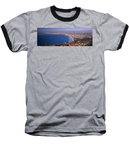 Aerial View Of A City At Coast, Santa Baseball T-Shirt by Panoramic Images
