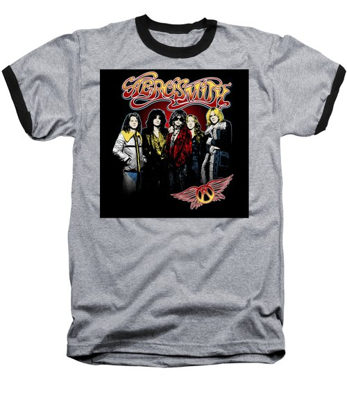Aerosmith - 1970s Bad Boys Baseball T-Shirt by Epic Rights