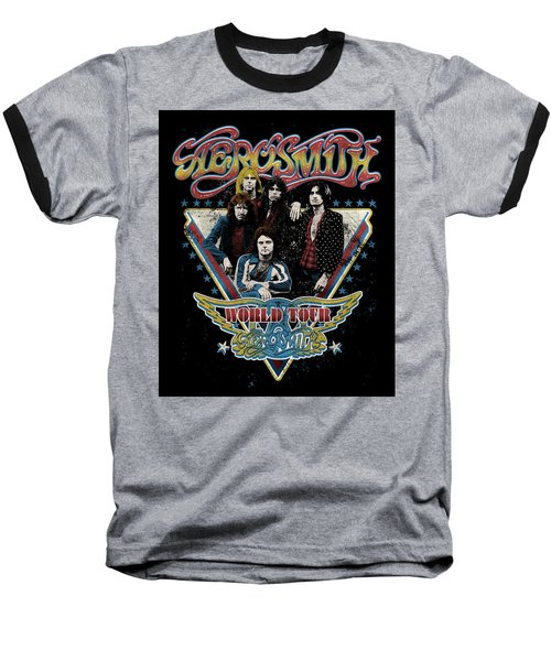 Aerosmith - World Tour 1977 Baseball T-Shirt by Epic Rights