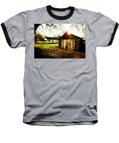 American Fabric   Mickey Mantle's Childhood Home Baseball T-Shirt by Iconic Images Art Gallery David Pucciarelli