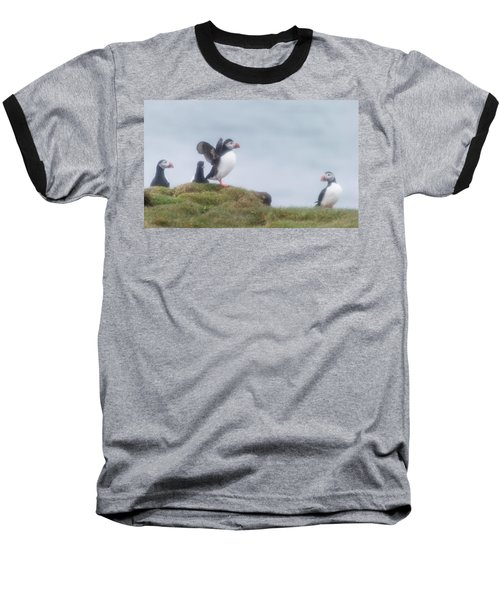 Atlantic Puffins Fratercula Arctica Baseball T-Shirt by Panoramic Images
