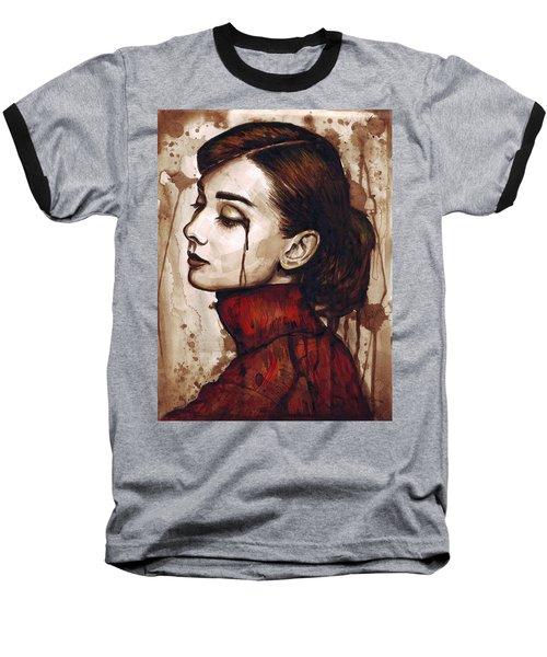 Audrey Hepburn - Quiet Sadness Baseball T-Shirt by Olga Shvartsur