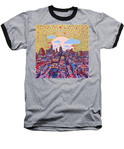 Austin Texas Abstract Panorama 2 Baseball T-Shirt by Bekim Art