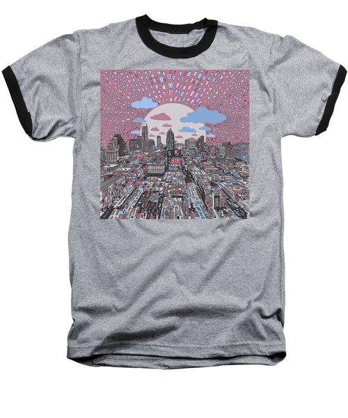 Austin Texas Abstract Panorama 3 Baseball T-Shirt by Bekim Art