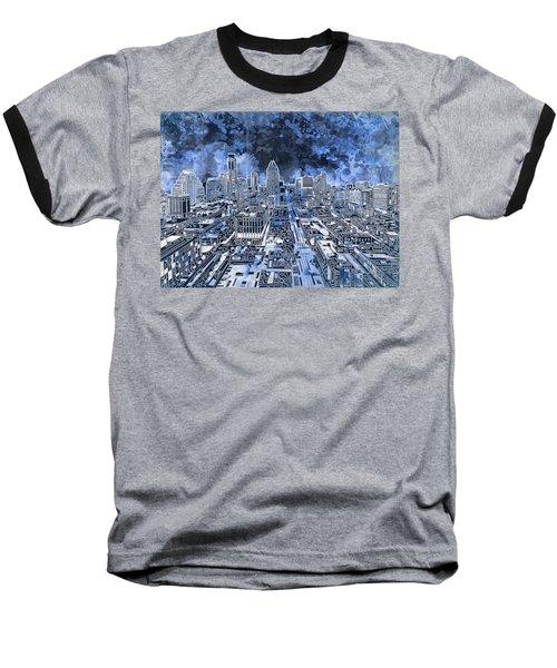Austin Texas Abstract Panorama 5 Baseball T-Shirt by Bekim Art