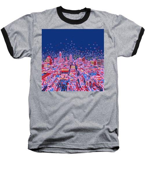 Austin Texas Abstract Panorama Baseball T-Shirt by Bekim Art