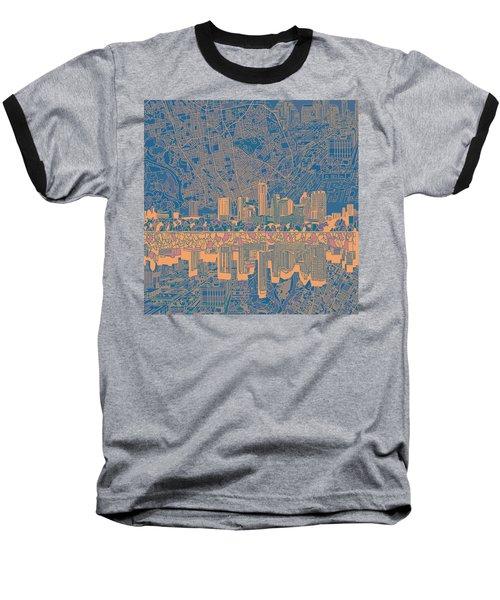 Austin Texas Skyline 2 Baseball T-Shirt by Bekim Art