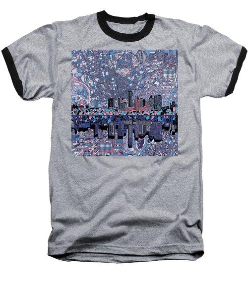 Austin Texas Skyline 3 Baseball T-Shirt by Bekim Art